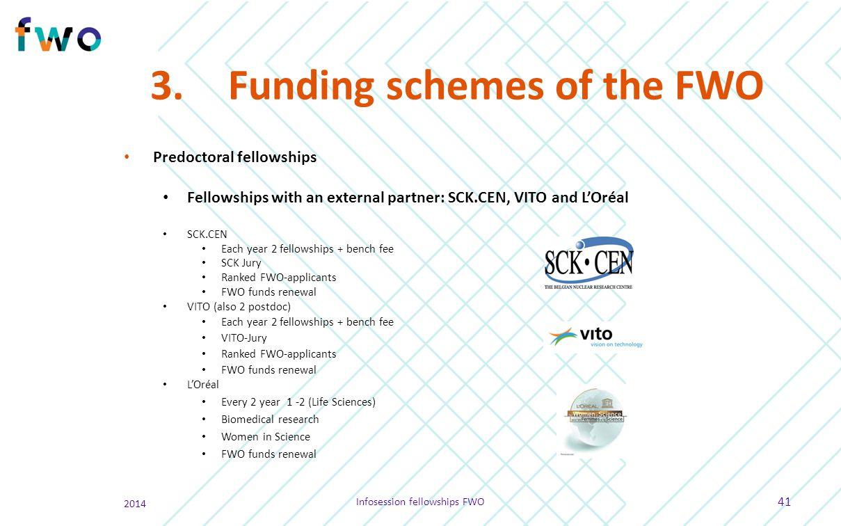 3.Funding schemes of the FWO Predoctoral fellowships Fellowships with an external partner: SCK.CEN, VITO and L'Oréal SCK.CEN Each year 2 fellowships +