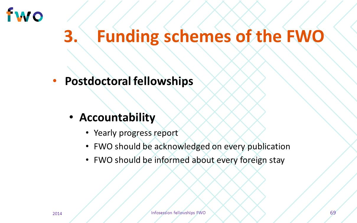 3.Funding schemes of the FWO Postdoctoral fellowships Accountability Yearly progress report FWO should be acknowledged on every publication FWO should