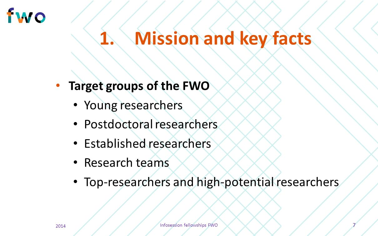 1.Mission and key facts Target groups of the FWO Young researchers Postdoctoral researchers Established researchers Research teams Top-researchers and