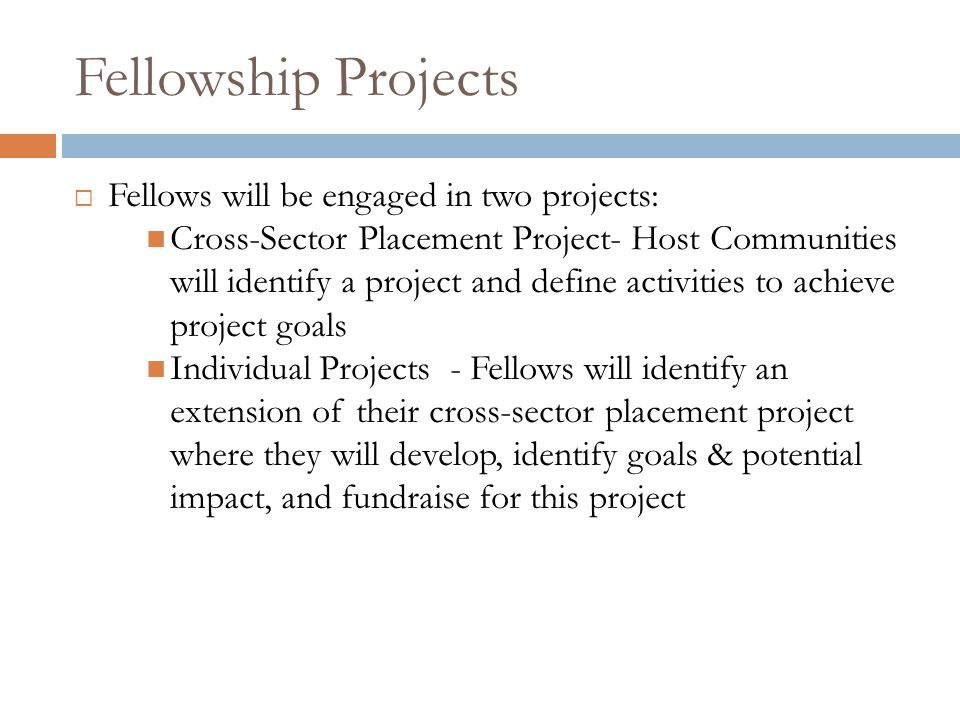 Fellowship Projects  Fellows will be engaged in two projects: Cross-Sector Placement Project- Host Communities will identify a project and define activities to achieve project goals Individual Projects - Fellows will identify an extension of their cross-sector placement project where they will develop, identify goals & potential impact, and fundraise for this project