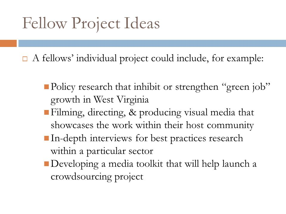 """Fellow Project Ideas  A fellows' individual project could include, for example: Policy research that inhibit or strengthen """"green job"""" growth in West"""