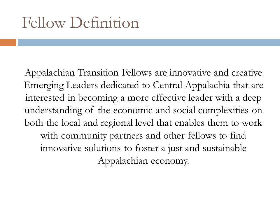 Fellow Definition Appalachian Transition Fellows are innovative and creative Emerging Leaders dedicated to Central Appalachia that are interested in becoming a more effective leader with a deep understanding of the economic and social complexities on both the local and regional level that enables them to work with community partners and other fellows to find innovative solutions to foster a just and sustainable Appalachian economy.