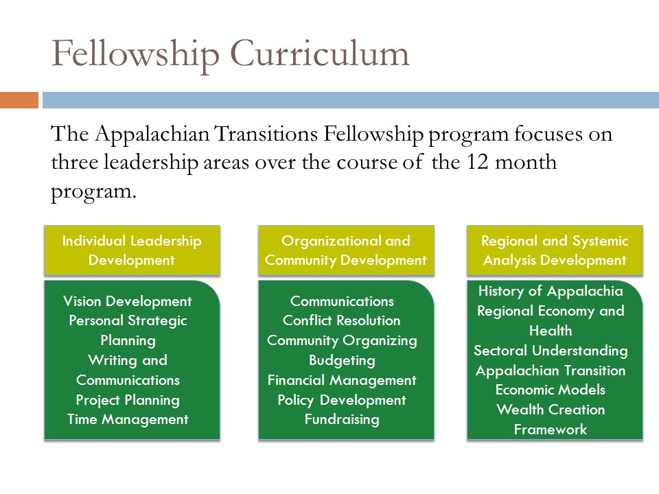 Fellowship Curriculum The Appalachian Transitions Fellowship program focuses on three leadership areas over the course of the 12 month program.