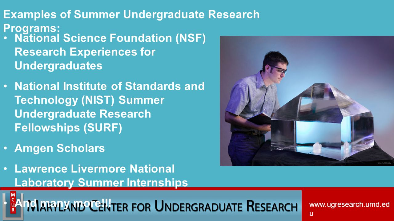 National Science Foundation (NSF) Research Experiences for Undergraduates National Institute of Standards and Technology (NIST) Summer Undergraduate Research Fellowships (SURF) Amgen Scholars Lawrence Livermore National Laboratory Summer Internships And many more!!.
