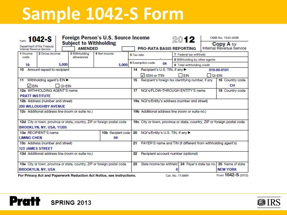SPRING 2013 Sample 1042-S Form