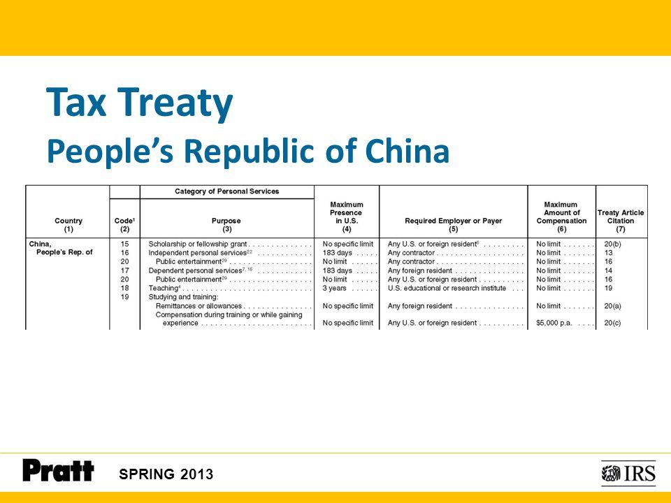 Tax Treaty People's Republic of China SPRING 2013