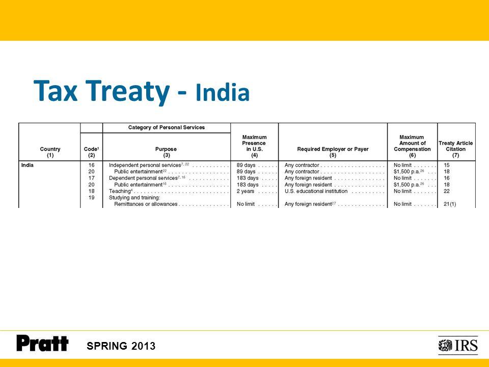 Tax Treaty - India SPRING 2013