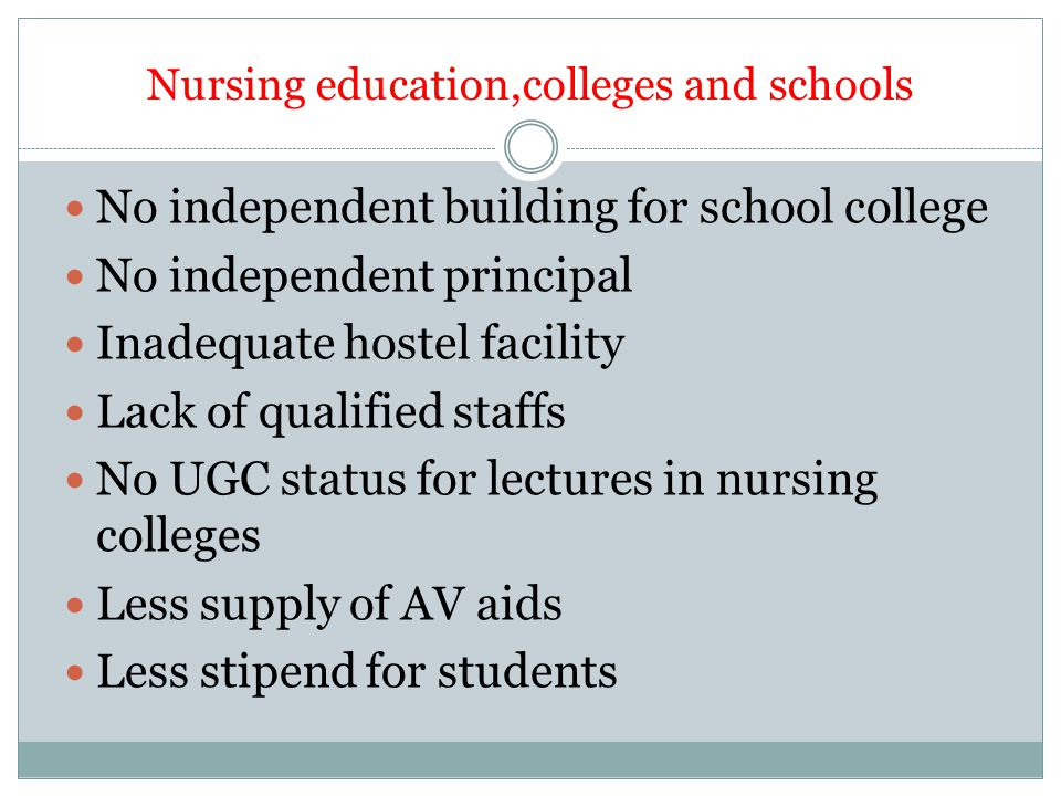 Nursing education,colleges and schools No independent building for school college No independent principal Inadequate hostel facility Lack of qualified staffs No UGC status for lectures in nursing colleges Less supply of AV aids Less stipend for students