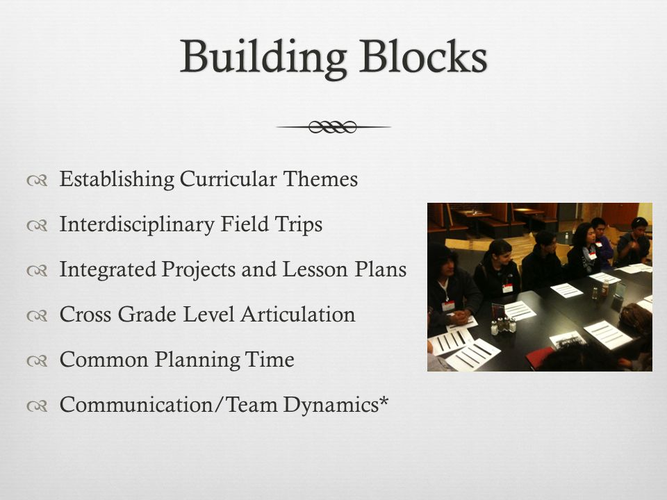 Building BlocksBuilding Blocks  Establishing Curricular Themes  Interdisciplinary Field Trips  Integrated Projects and Lesson Plans  Cross Grade Level Articulation  Common Planning Time  Communication/Team Dynamics*
