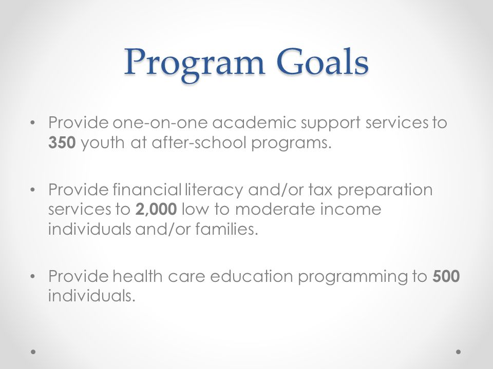 Program Goals Provide one-on-one academic support services to 350 youth at after-school programs.