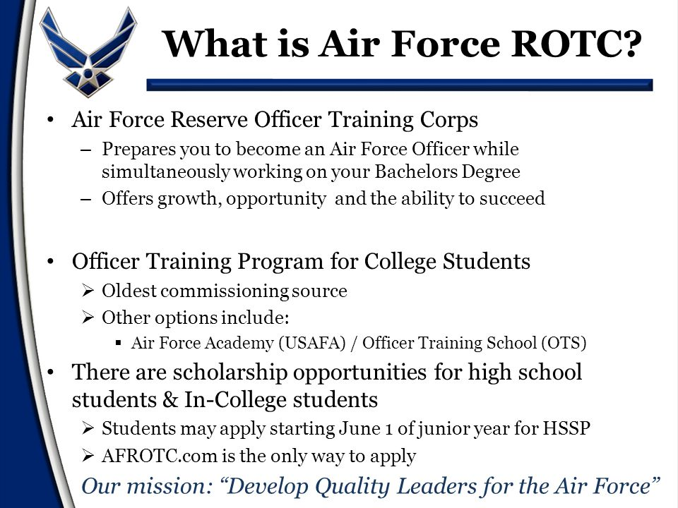 Completion of AFROTC requirements & Graduation Receive commission as a Second Lieutenant in the U.S.