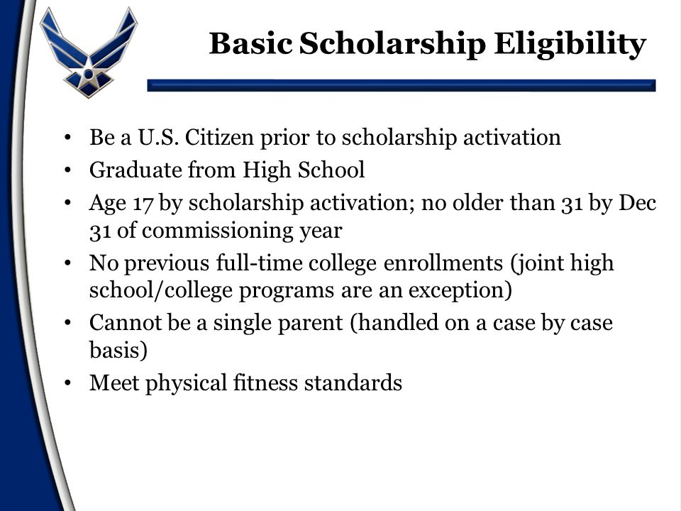 Academic Eligibility Minimum cumulative GPA of 3.0 (only 9 th -11 th grades considered) Minimum SAT score of 1180 or Minimum ACT score of 26 Writing scores are not included