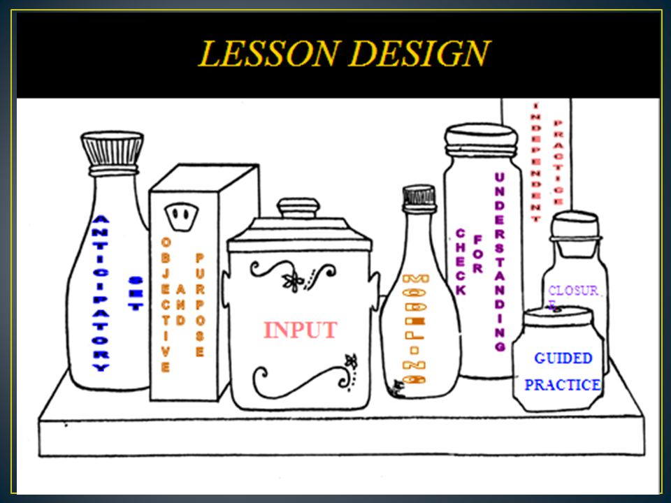 Find a partner Discuss/Review: Anticipatory Sets Objectives Purpose of lessons Input of lessons Graphic Organizers used