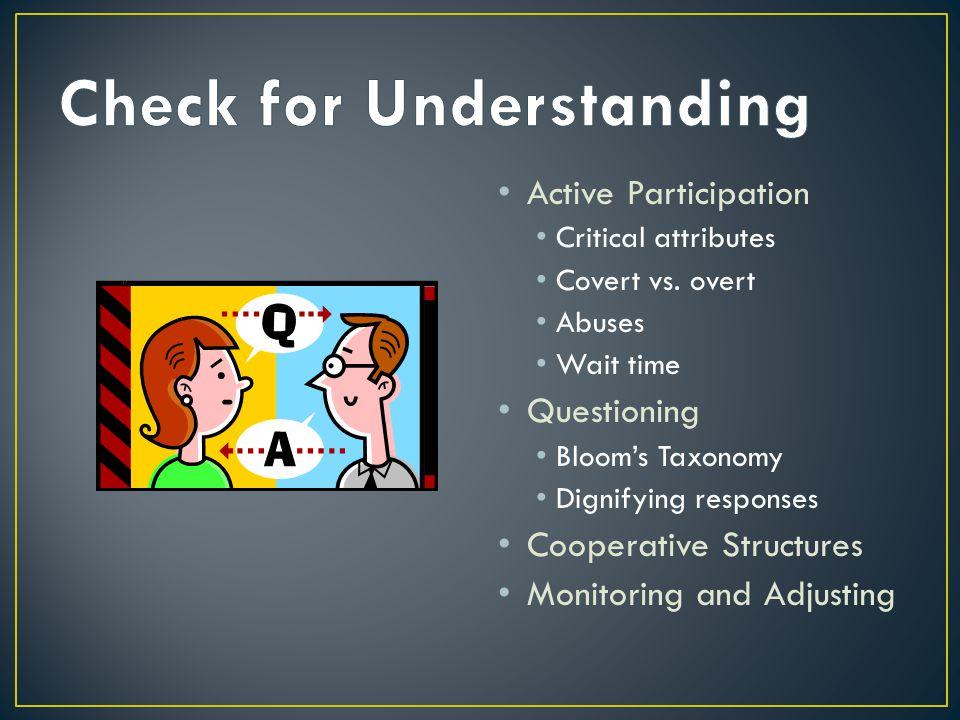 Active Participation Critical attributes Covert vs.