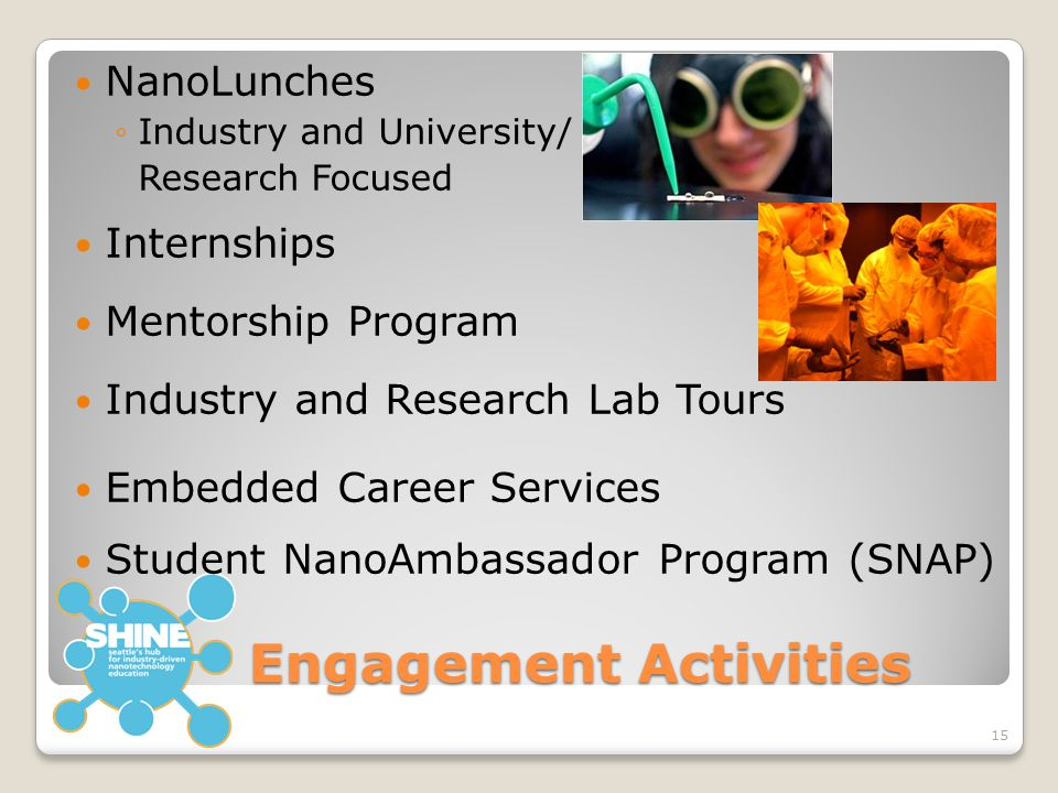 Engagement Activities NanoLunches ◦Industry and University/ Research Focused Internships Mentorship Program Industry and Research Lab Tours Embedded C