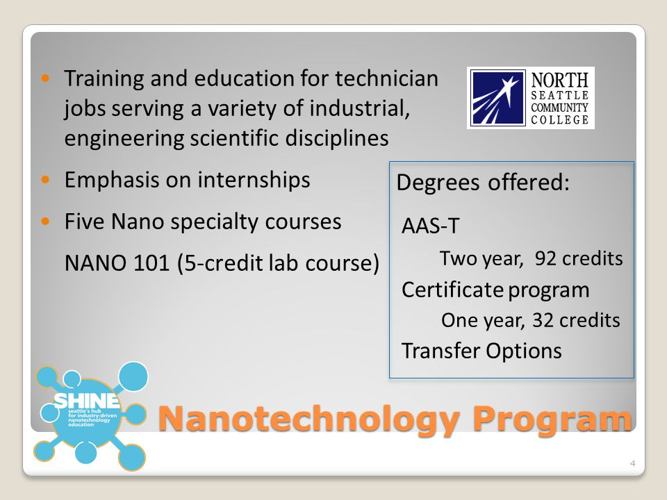 Nanotechnology Program Training and education for technician jobs serving a variety of industrial, engineering scientific disciplines Emphasis on inte