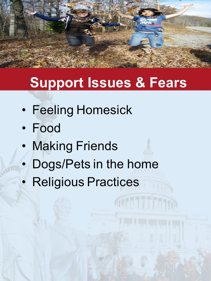 Support Issues & Fears Feeling Homesick Food Making Friends Dogs/Pets in the home Religious Practices