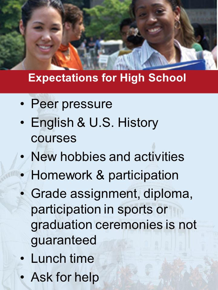 Expectations for High School Peer pressure English & U.S.