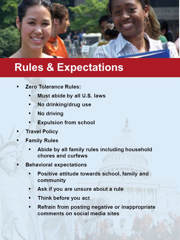 Rules & Expectations  Zero Tolerance Rules:  Must abide by all U.S.