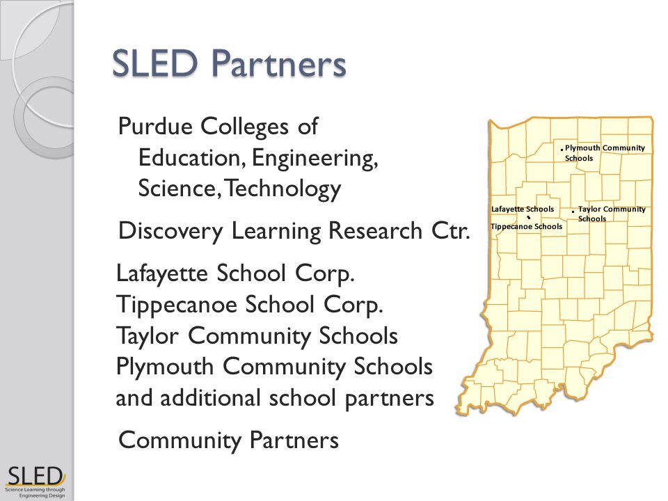 SLED Partners Purdue Colleges of Education, Engineering, Science, Technology Discovery Learning Research Ctr. Lafayette School Corp. Tippecanoe School