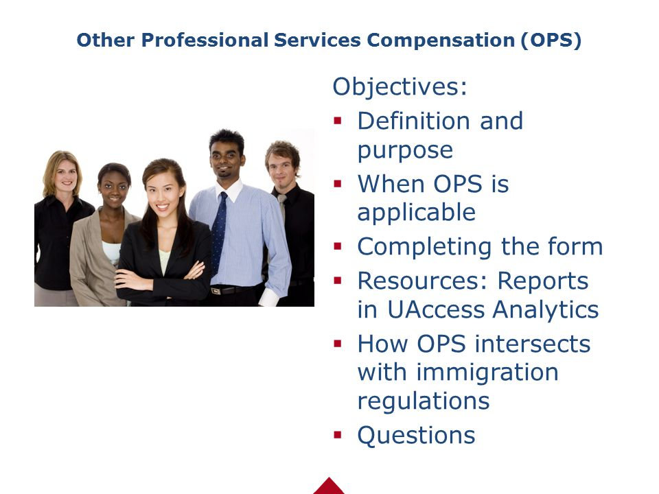 Other Professional Services Compensation (OPS) Objectives:  Definition and purpose  When OPS is applicable  Completing the form  Resources: Report