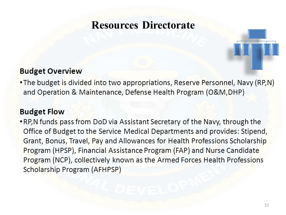 Budget Overview The budget is divided into two appropriations, Reserve Personnel, Navy (RP,N) and Operation & Maintenance, Defense Health Program (O&M,DHP) Budget Flow RP,N funds pass from DoD via Assistant Secretary of the Navy, through the Office of Budget to the Service Medical Departments and provides: Stipend, Grant, Bonus, Travel, Pay and Allowances for Health Professions Scholarship Program (HPSP), Financial Assistance Program (FAP) and Nurse Candidate Program (NCP), collectively known as the Armed Forces Health Professions Scholarship Program (AFHPSP) Resources Directorate 10