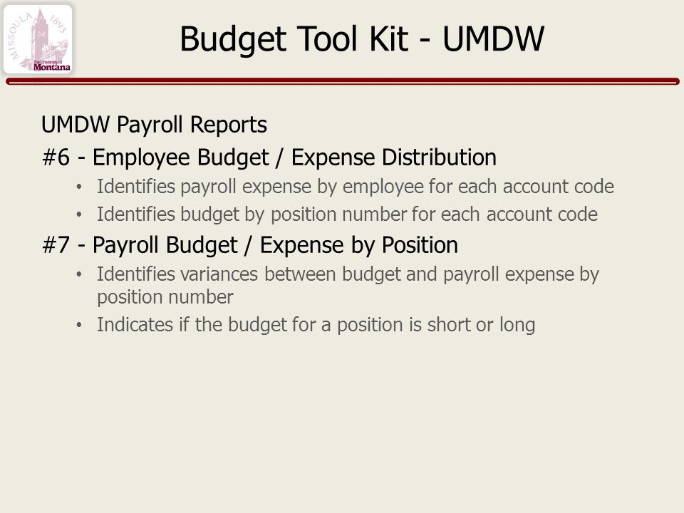 Budget Tool Kit - UMDW UMDW Payroll Reports #6 - Employee Budget / Expense Distribution Identifies payroll expense by employee for each account code Identifies budget by position number for each account code #7 - Payroll Budget / Expense by Position Identifies variances between budget and payroll expense by position number Indicates if the budget for a position is short or long