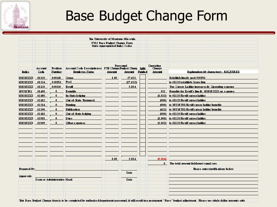 Base Budget Change Form