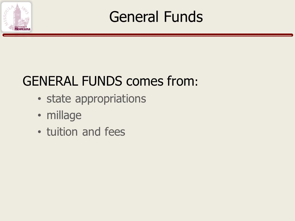 General Funds GENERAL FUNDS comes from : state appropriations millage tuition and fees