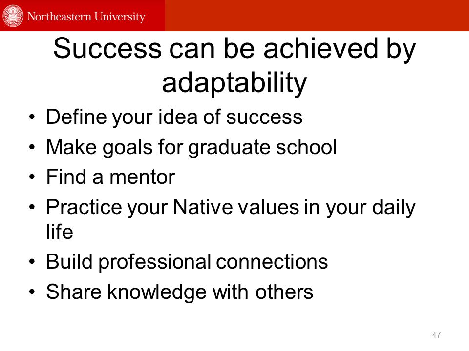 Success can be achieved by adaptability Define your idea of success Make goals for graduate school Find a mentor Practice your Native values in your daily life Build professional connections Share knowledge with others 47