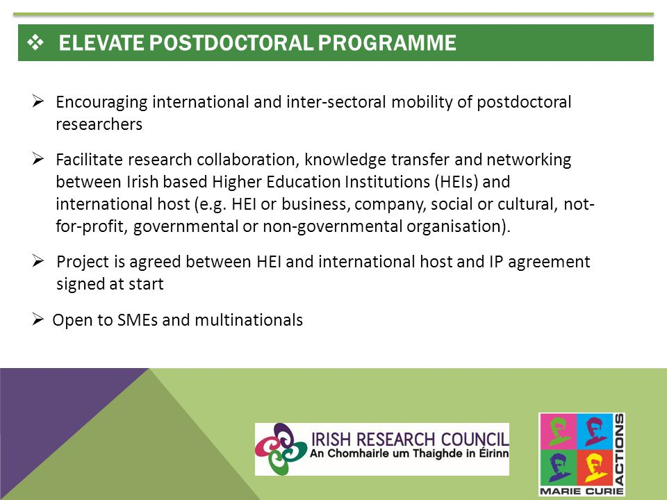  Encouraging international and inter-sectoral mobility of postdoctoral researchers  Facilitate research collaboration, knowledge transfer and networking between Irish based Higher Education Institutions (HEIs) and international host (e.g.