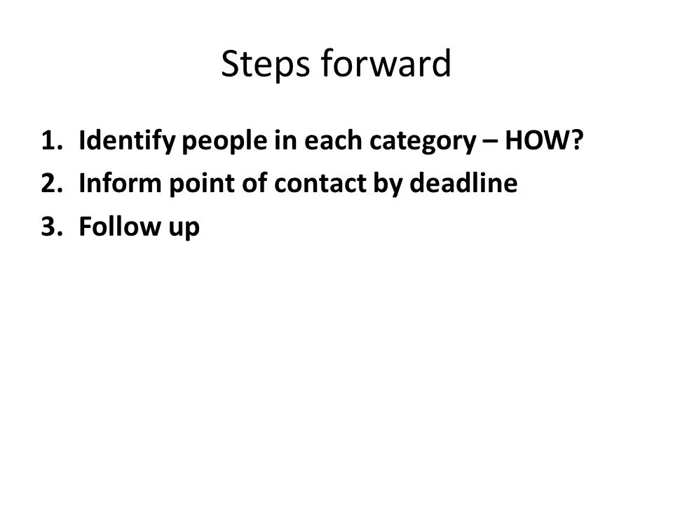 Steps forward 1.Identify people in each category – HOW.