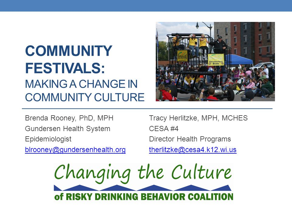Best Practices - Background U of MN Alcohol Epidemiology Program 20 Best Practices for Safe Festivals Changing the Culture of Risky Drinking Evaluations Every Year 2010-2013 Meeting with Festival Organizers in March and November of 2011 to Share Results and Network 2012 Results Shared, Some Individual Meetings