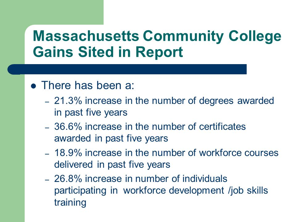 Massachusetts Community College Gains Sited in Report There has been a: – 21.3% increase in the number of degrees awarded in past five years – 36.6% i