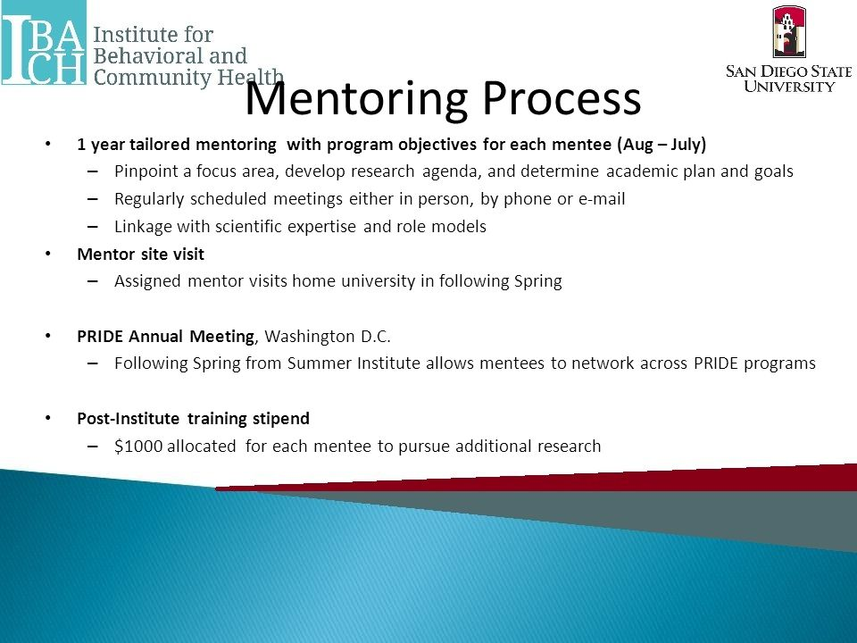 Mentoring Process 1 year tailored mentoring with program objectives for each mentee (Aug – July) – Pinpoint a focus area, develop research agenda, and determine academic plan and goals – Regularly scheduled meetings either in person, by phone or e-mail – Linkage with scientific expertise and role models Mentor site visit – Assigned mentor visits home university in following Spring PRIDE Annual Meeting, Washington D.C.