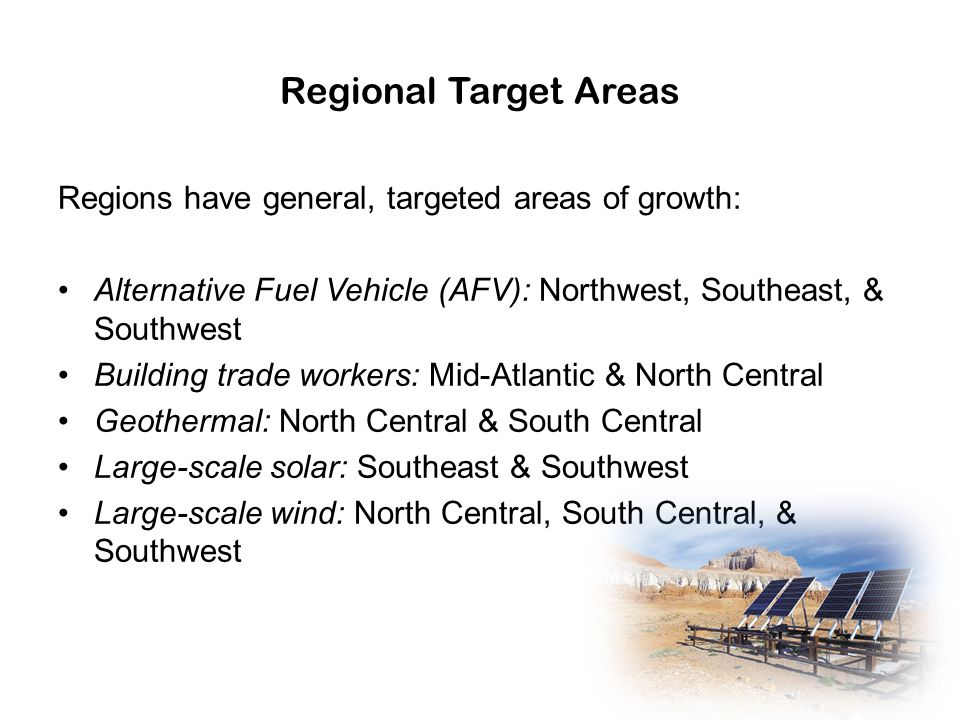 Regional Target Areas Regions have general, targeted areas of growth: Alternative Fuel Vehicle (AFV): Northwest, Southeast, & Southwest Building trade