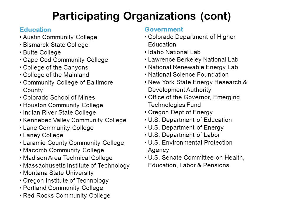 Participating Organizations (cont) Education Austin Community College Bismarck State College Butte College Cape Cod Community College College of the C