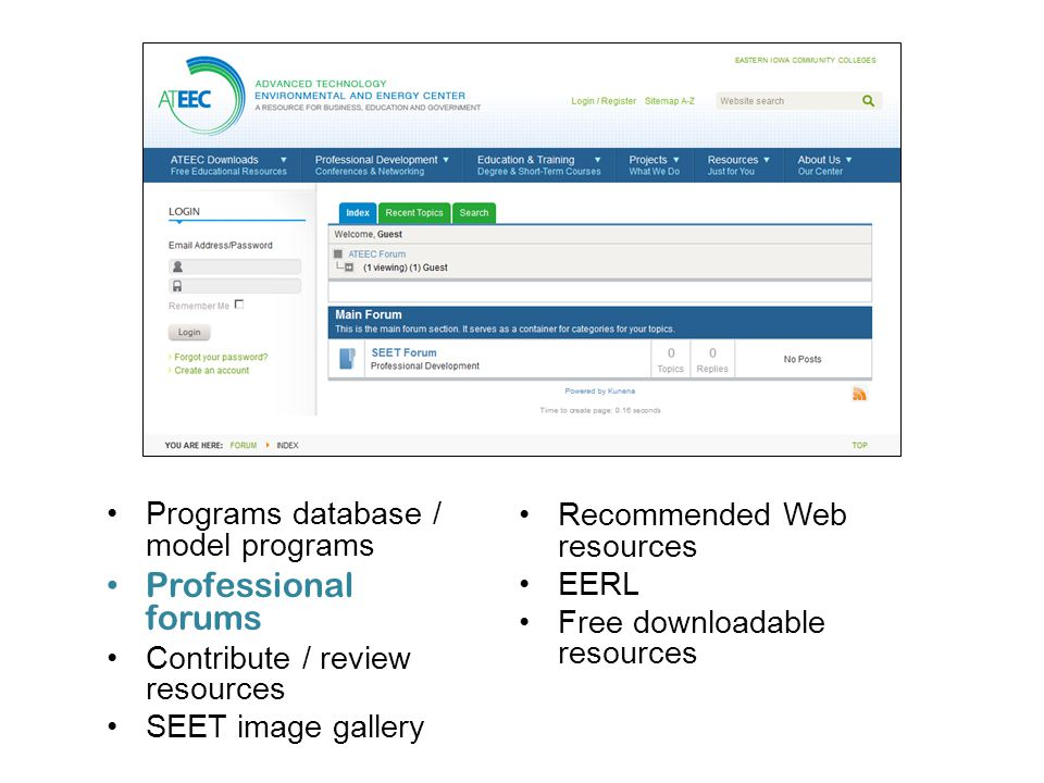 Programs database / model programs Professional forums Contribute / review resources SEET image gallery Recommended Web resources EERL Free downloadab