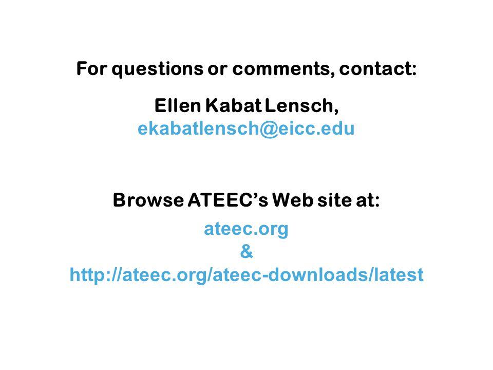 ateec.org & http://ateec.org/ateec-downloads/latest For questions or comments, contact: Ellen Kabat Lensch, ekabatlensch@eicc.edu Browse ATEEC's Web site at: