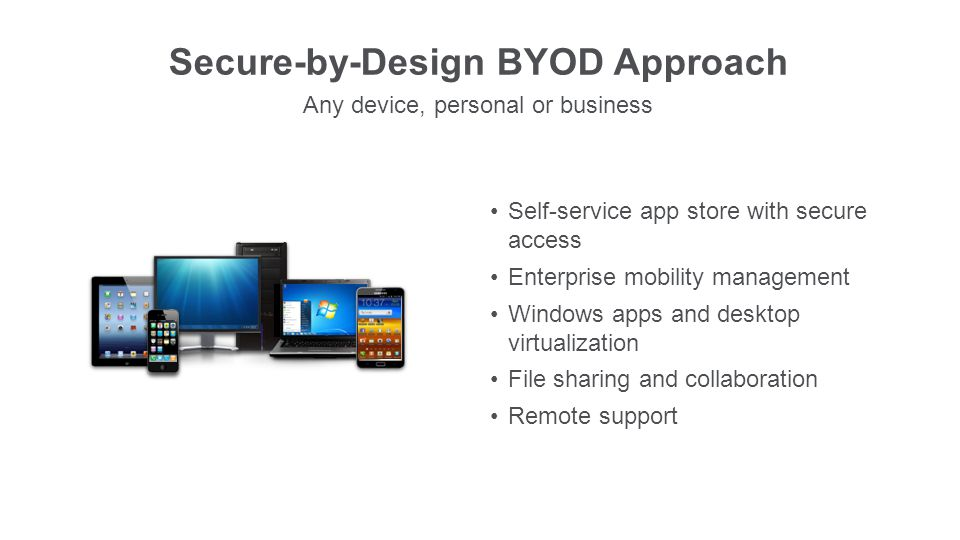 Secure-by-Design BYOD Approach Any device, personal or business Self-service app store with secure access Enterprise mobility management Windows apps and desktop virtualization File sharing and collaboration Remote support
