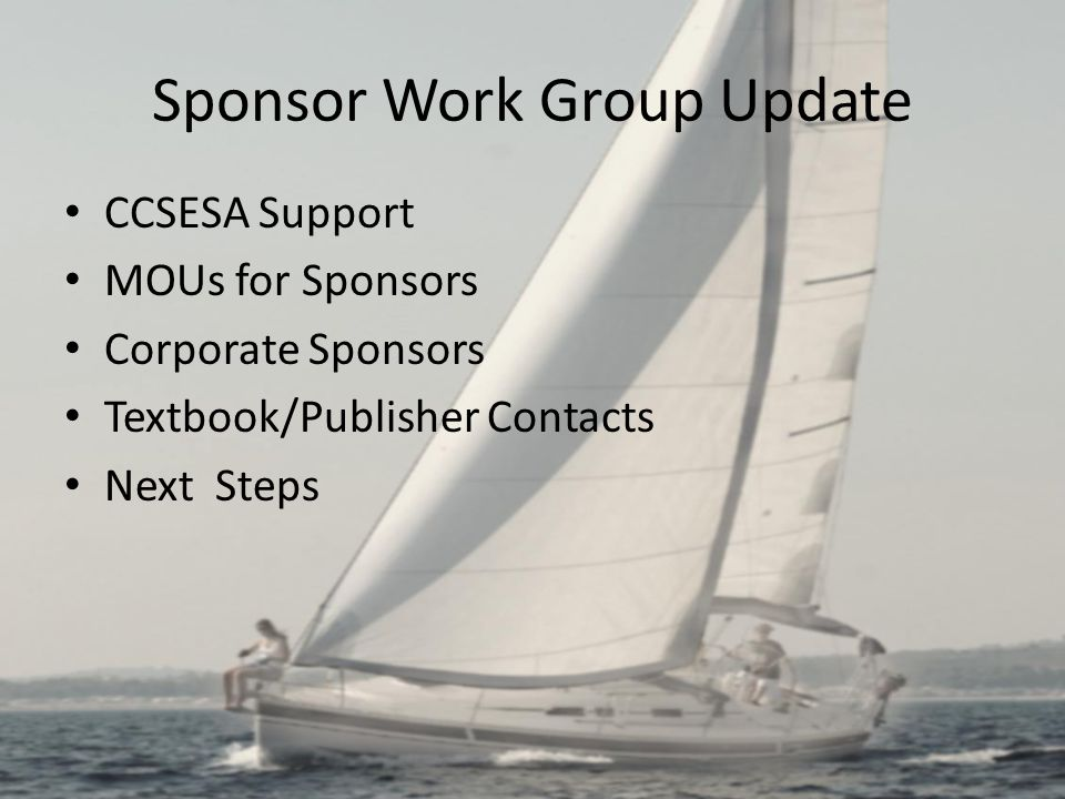 Sponsor Work Group Update CCSESA Support MOUs for Sponsors Corporate Sponsors Textbook/Publisher Contacts Next Steps