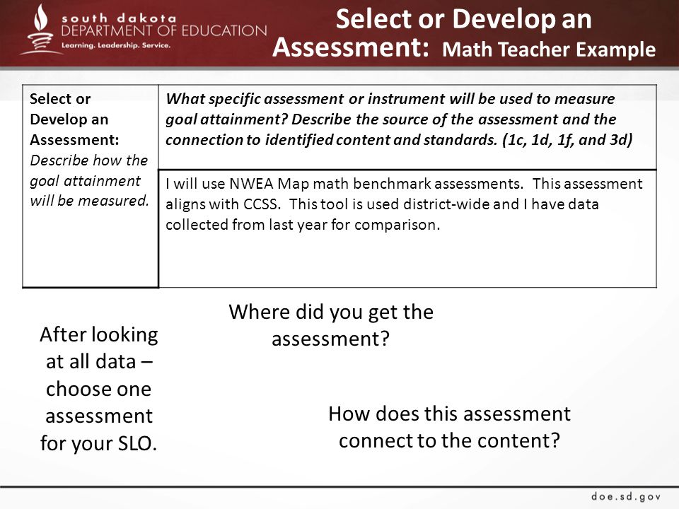 Select or Develop an Assessment: Math Teacher Example After looking at all data – choose one assessment for your SLO.