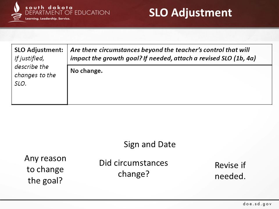 SLO Adjustment Any reason to change the goal. Did circumstances change.