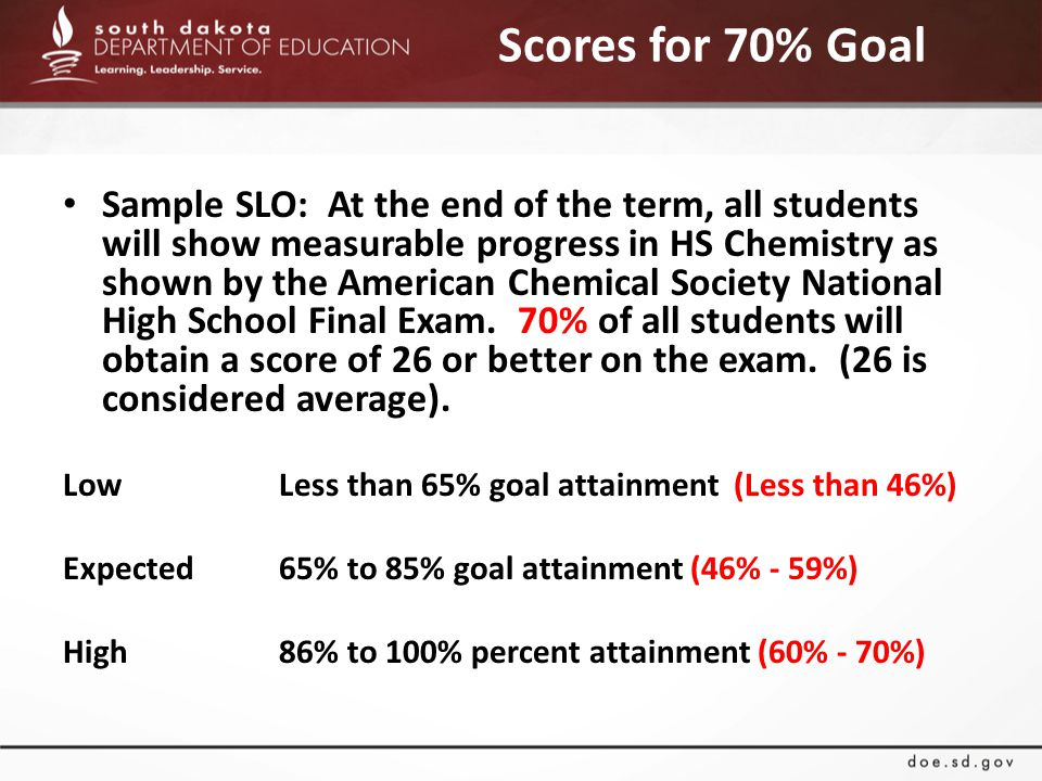 Scores for 70% Goal Sample SLO: At the end of the term, all students will show measurable progress in HS Chemistry as shown by the American Chemical Society National High School Final Exam.