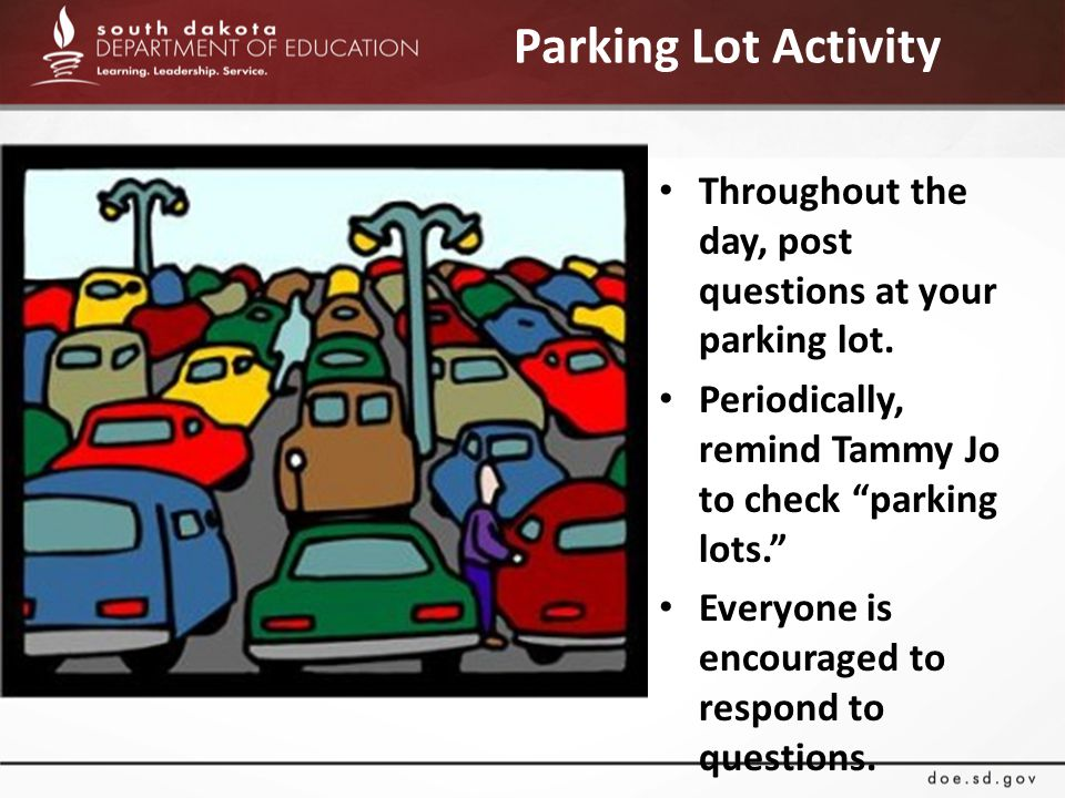 Parking Lot Activity Throughout the day, post questions at your parking lot.