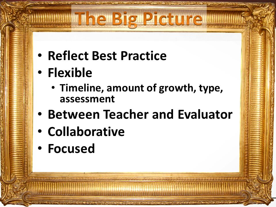 Reflect Best Practice Flexible Timeline, amount of growth, type, assessment Between Teacher and Evaluator Collaborative Focused