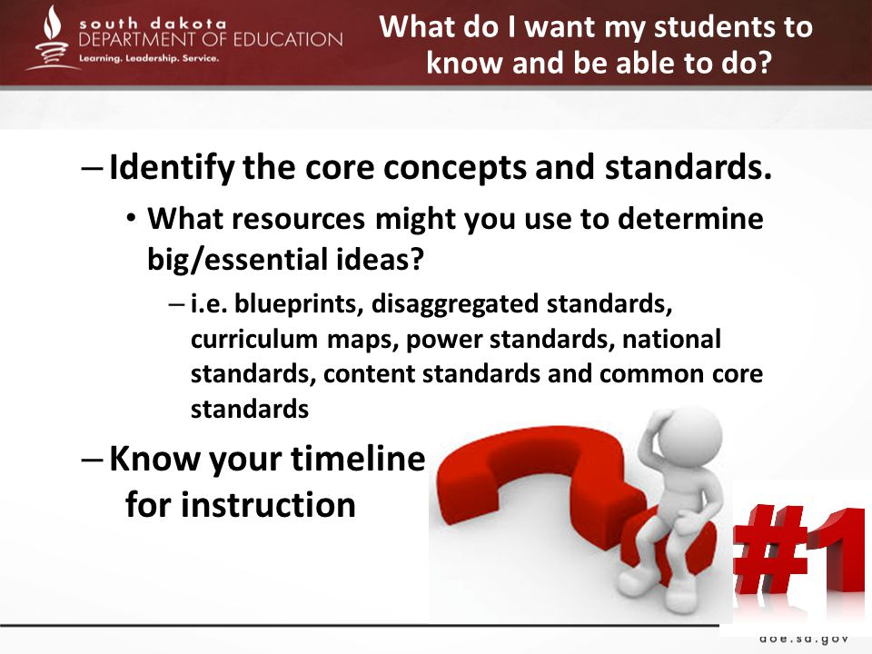 What do I want my students to know and be able to do.