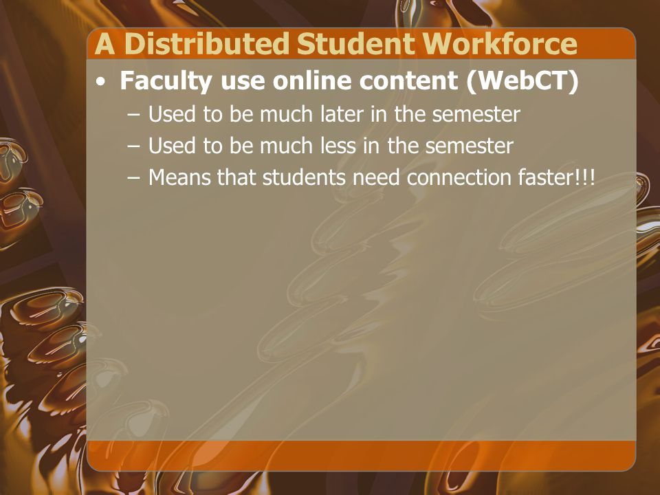 A Distributed Student Workforce Faculty use online content (WebCT) –Used to be much later in the semester –Used to be much less in the semester –Means that students need connection faster!!!