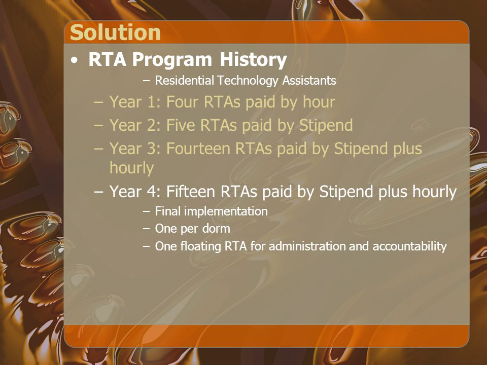 Solution RTA Program History –Residential Technology Assistants –Year 1: Four RTAs paid by hour –Year 2: Five RTAs paid by Stipend –Year 3: Fourteen RTAs paid by Stipend plus hourly –Year 4: Fifteen RTAs paid by Stipend plus hourly –Final implementation –One per dorm –One floating RTA for administration and accountability