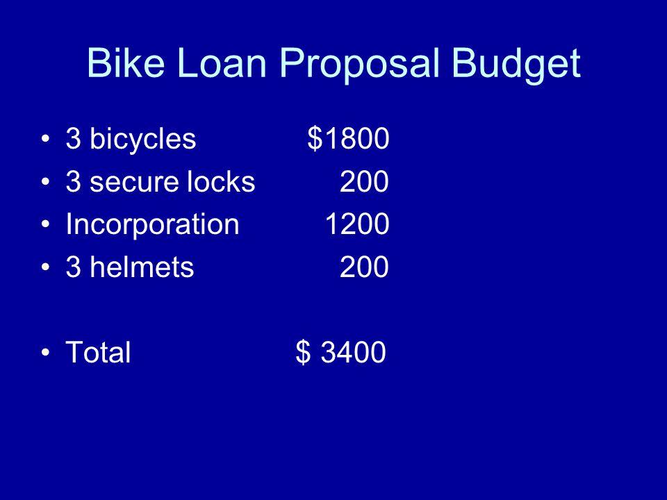 Bike Loan Proposal Budget 3 bicycles$1800 3 secure locks 200 Incorporation 1200 3 helmets 200 Total $ 3400